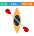 Flat design icon of kayak and paddle vector image vector image