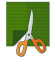 flat icon with scissors cutting green material vector image