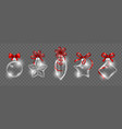 glass christmas toys with red ribbon bow vector image vector image
