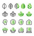 green leaf icon set vector image vector image