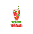 hand drawn label for natural tomato juice vector image vector image