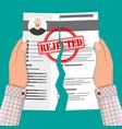 hands torn in half cv profile rejected resume vector image