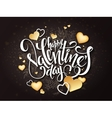 happy valentines day lettering with golden vector image vector image