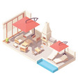 isometric patio with barbecue and pool vector image vector image