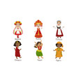kids in traditional costumes set ukraine russia vector image vector image