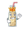 king sweet banana smoothie isolated on mascot vector image vector image
