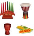 Kwanzaa Holiday 4 Colorful Symbols Collection vector image vector image