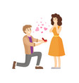 man making proposal to woman presenting her ring vector image