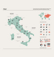 map italy high detailed country map vector image vector image