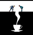 men and a cup coffee vector image