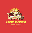mobile food truck car with pizza vector image vector image