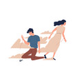 mother leaving grown up son unhappy teen lost vector image vector image