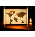 old map with candle vector image vector image