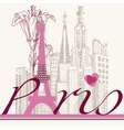 Paris card urban architecture and lily vector image