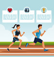 people running infographic vector image vector image