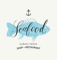 seafood banner or menu with fish and inscriptions vector image vector image