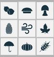 seasonal icons set with apple pie wheat maple vector image