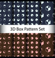 set 3d box seamless pattern background vector image vector image