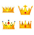set golden crowns royal jewelry symbol king vector image vector image