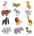set of african animals cartoon vector image