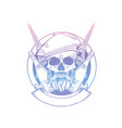 sketch french skull with beret vector image vector image