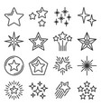 star icons set on white background line style vector image vector image