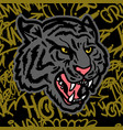 tiger graffiti background vector image vector image