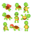 turtle child running fast tortoise green kids vector image