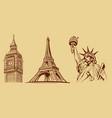 new york-paris-london-tourist symbols vector image