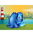 A monster giving a shoulder to cry on for a friend vector image vector image