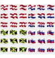 Austria Croatia Jamaica Slovakia Set of 36 flags vector image vector image