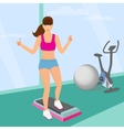 Beautiful woman doing aerobic workout in the gym vector image vector image