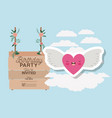 birthday invitation card with label wooden and vector image