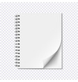 blank realistic spiral notepad on transparent vector image