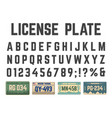 car license plates alphabet vehicle registration vector image