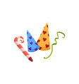 cartoon birthday hat party horn and confetti set vector image