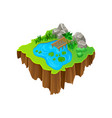 cartoon design of isometric island lake vector image