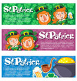 cartoon saint patrick day horizontal banners vector image vector image