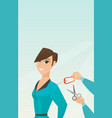 caucasian woman cutting price tag off new jacket vector image vector image