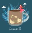 chamomile herbal tea cup hot drink with leaves vector image