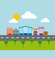 city buildings road urban street landscape vector image vector image