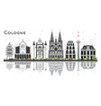 cologne germany city skyline with gray buildings vector image vector image