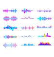 colorful sound waves audio signal wave color vector image vector image