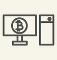 computer and cryptocurrency line icon bitcoin on vector image vector image