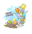 cute cartoon composition a bouquet tulips vector image