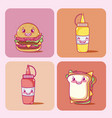 cute fast food collection vector image