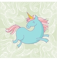 cute magic unicon and rainbow poster card vector image vector image