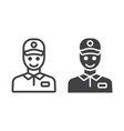 delivery man line and glyph icon logistic vector image vector image