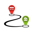 design path from shop to home icon vector image