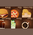 Fast food restaurant menu on wood background